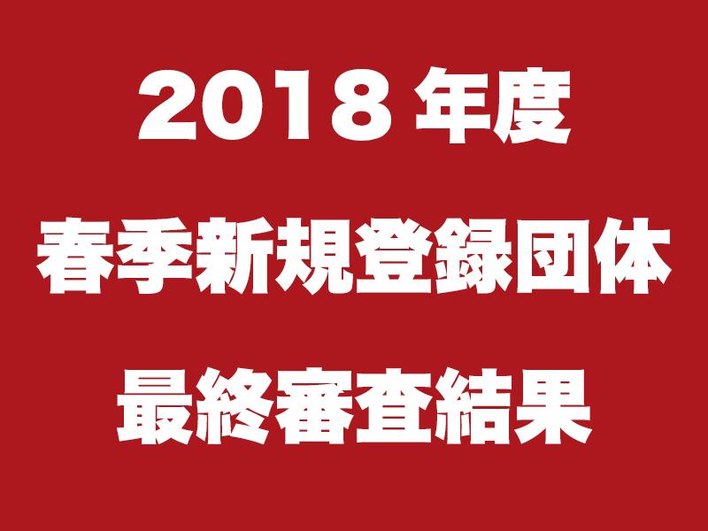 2018年度春季新規登録団体募集 最終審査結果